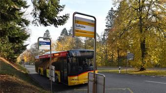 Die Bushaltestelle «Salhöhe», die sich sowohl auf Aargauer als auch auf Solothurner Gebiet befindet, soll ausgebaut werden. Bruno Kissling