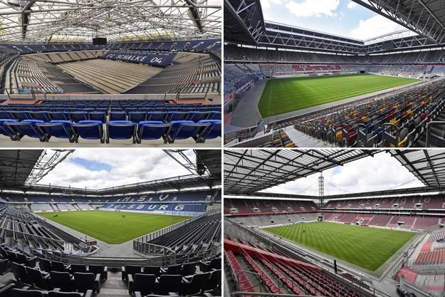 In den Städten dieser Stadien findet das Finalturnier der Europa League statt (im Uhrzeigersinn): Gelsenkirchen (oben links), Düsseldorf, Duisburg und Köln. Das Final wird in Köln ausgetragen.