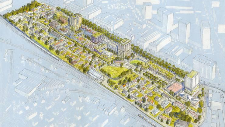 """Für die Gegner """"viel zu idyllisch gezeichnet"""": Die Visualisierung des neuen Quartiers an der Thurgauerstrasse."""