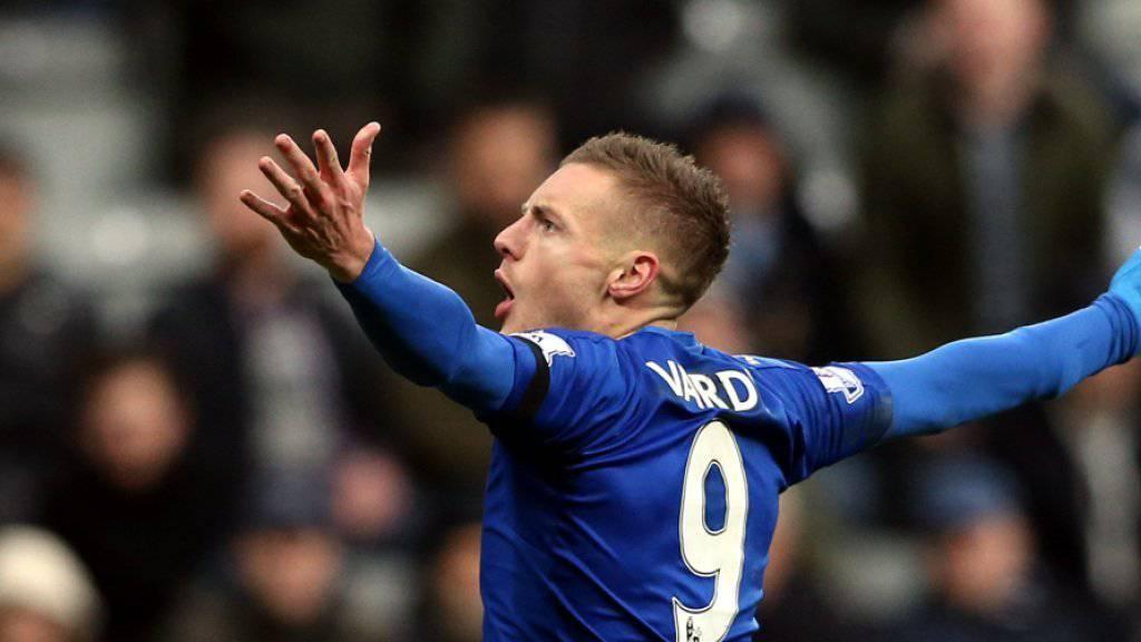 Leicesters Stürmer Jamie Vardy traf beim 3:0-Sieg in Newcastle im zehnten Spiel in Folge