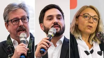Allesamt frauenfreundlich: Beat Flach (GLP, 94 Prozent), Cédric Wermuth (SP, 94 Prozent) und Yvonne Feri (SP, 90 Prozent).