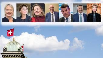 Die sieben Kandidatinnen und Kandidaten für die zwei frei werdenden Bundesratssitze