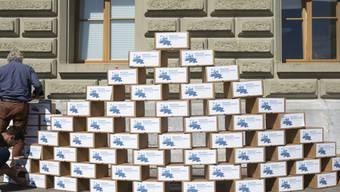 Mitglieder des Initiativkomitees stapeln die Kartons mit den Unterschriften für die Massentierhaltungsinitiative bei der Bundeskanzlei in Bern auf.