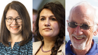 Jasmine Huber (FDP), Stephanie Ritschard (SVP) und Willi Lindner (parteilos)