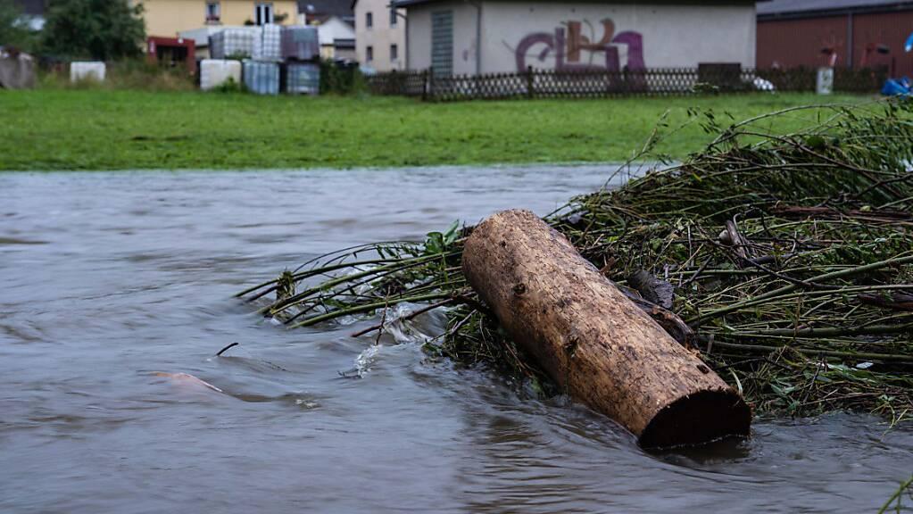 Die Selbitz ist in der gleichnamigen Ortschaft durch die starken Niederschläge zu einem reißenden Fluss geworden. Foto: Nicolas Armer/dpa