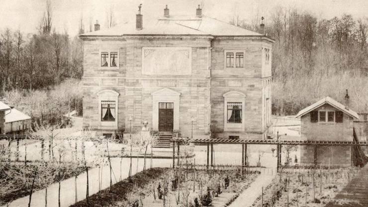 Richard Wagners Haus Wahnfried in Bayreuth, wie es sich um 1874, zu Lebzeiten des Komponisten, präsentierte.