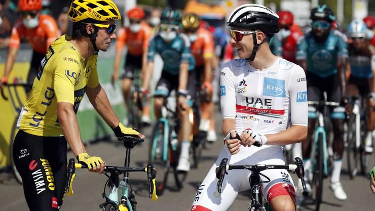 Duell der Slowenen an der Tour de France: Primoz Roglic (links) und Tadej Pogacar.