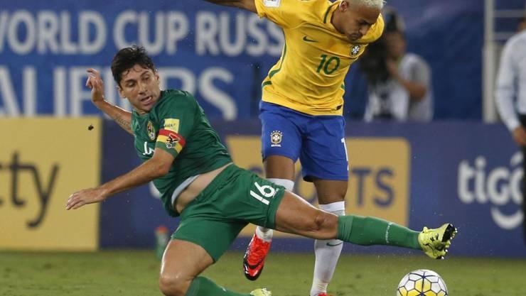 Neymar (rechts) führte Brasilien in der südamerikanischen WM-Qualifikation zu einem Kantersieg gegen Bolivien