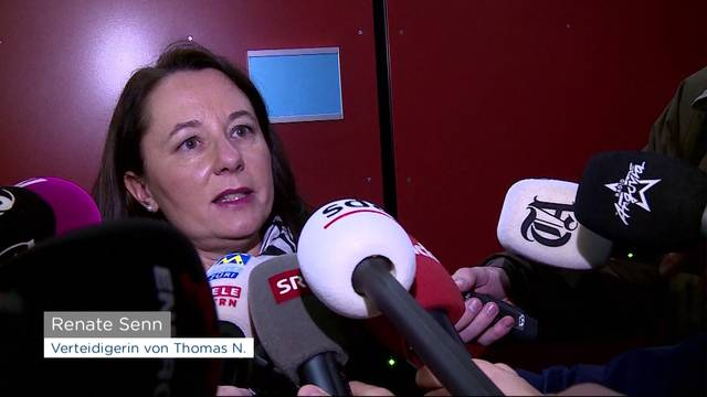 Pflichtverteidigerin Renate Senn stellt sich nach dem Urteil für Thomas N. den Medien