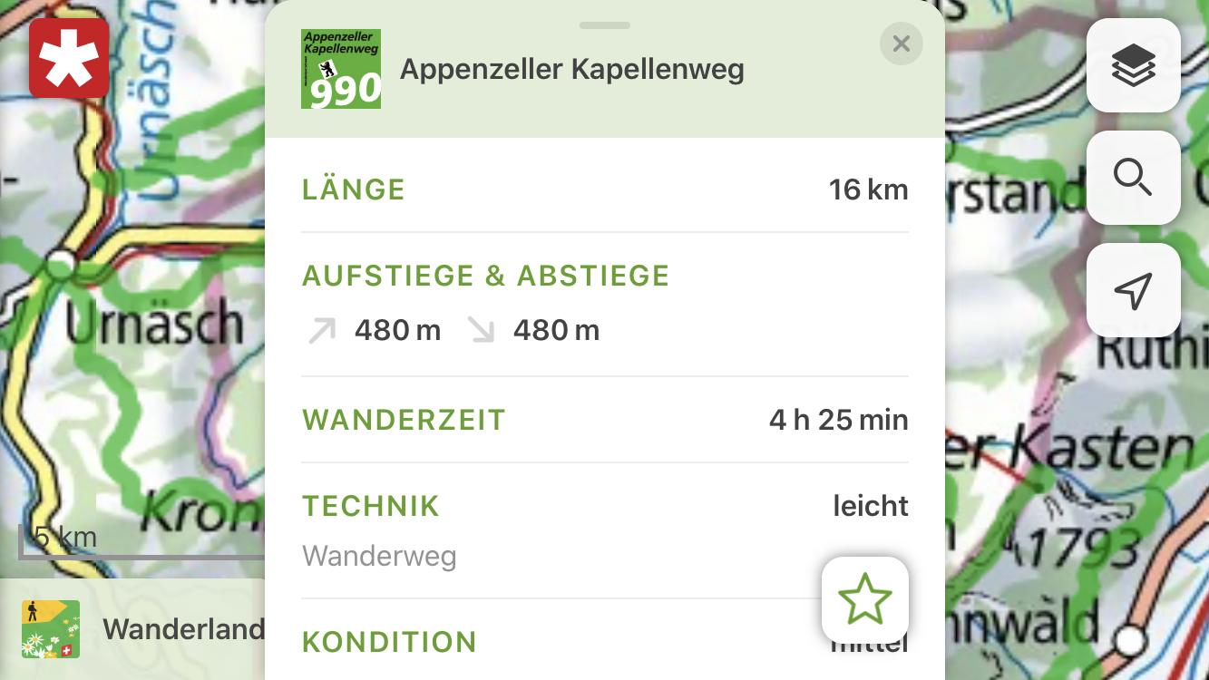 Die App bietet Details zu zahlreichen Wanderrouten.