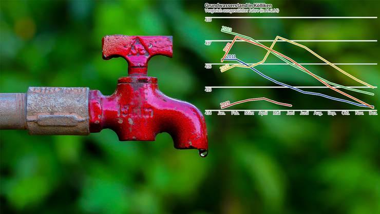 Die dunkelrote Kurve zeigt den Verlauf des Grundwasserpegels der letzten Monate, wie er beim Kölliker Pumpwerk Hard gemessen wurde.