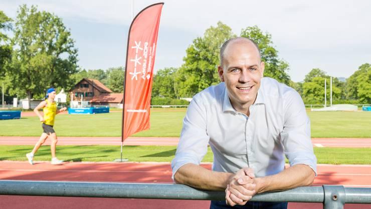 Stefan Riner, Geschäftsführer des eidgenössischen Turnfestes 2019 in Aarau. Fotografiert im Schachen Aarau, wo das Turnfest stattfinden wird.