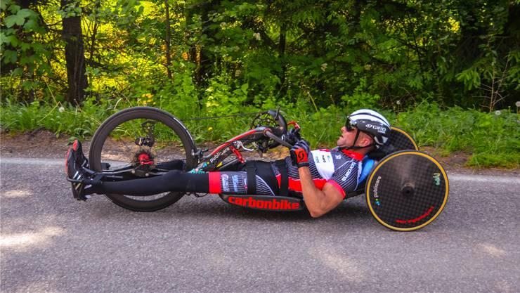 Cornel Villiger, hier beim Einzelzeitfahren während der Austria Tour 2018, geht immer bis an die Grenze, denn ihn treibt die Neugier auf das, was alles machbar ist.
