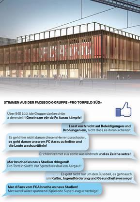 Das geplante neue Aarauer Fussballstadion und Stimmen aus der Facebook-Gruppe «Pro Torfeld Süd».