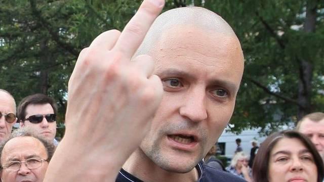 Oppositionsführer Sergej Udaltsov bei der Demonstration in Moskau