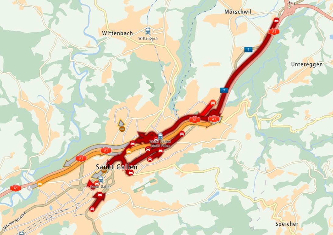 Puff auf der St.Galler Stadtautobahn, am Dienstag gab es zwei Unfälle. (Bild: Screenshot: mydrivetomtom.com)