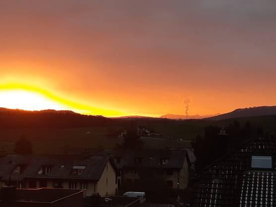 Abend Stimmung über Fislisbach 3Januar 19