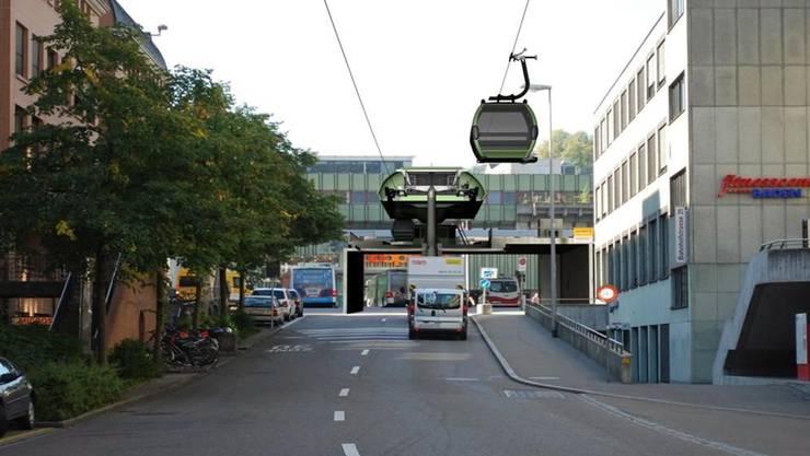 Endstation Bahnhof: Die Fotomontage zeigt, wie die Badener Gondelbahn dereinst aussehen könnte.
