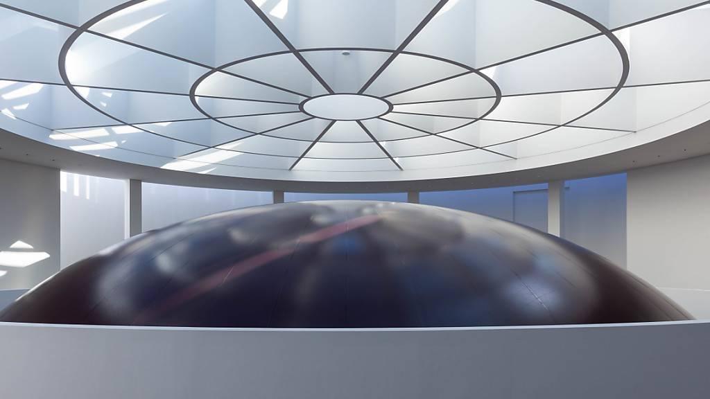 HANDOUT - Die Installation «HOWL» des Bildhauers Anish Kapoor in der Pinakothek der Moderne. In der Rotunde im Eingangsbereich des Museums wurde die gigantische Kugel aus dunklem PVC angebracht, die sich über drei Etagen erstreckt. Das Kunstwerk wurde am 16.09.2020 vorgestellt. Foto: Johannes Haslinger/Pinakothek der Moderne/dpa - ACHTUNG: Nur zur redaktionellen Verwendung im Zusammenhang mit der aktuellen Berichterstattung und nur mit vollständiger Nennung des vorstehenden Credits