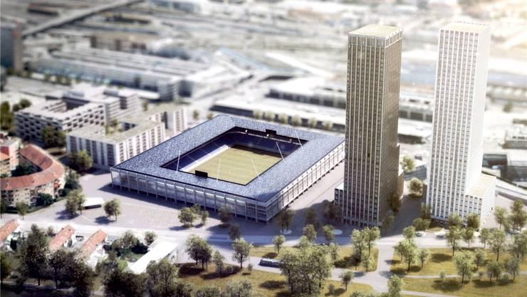 Zum geplanten Hardturmstadion gehören das Investorenprojekt zweier Hochhäuser und eine Genossenschaftssiedlung. (Visualisierung HRS Real Estate AG/Nightnurse Images GmbH)