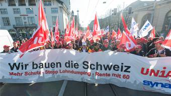 Der Protest der Bauarbeiter gestern in Zürich.