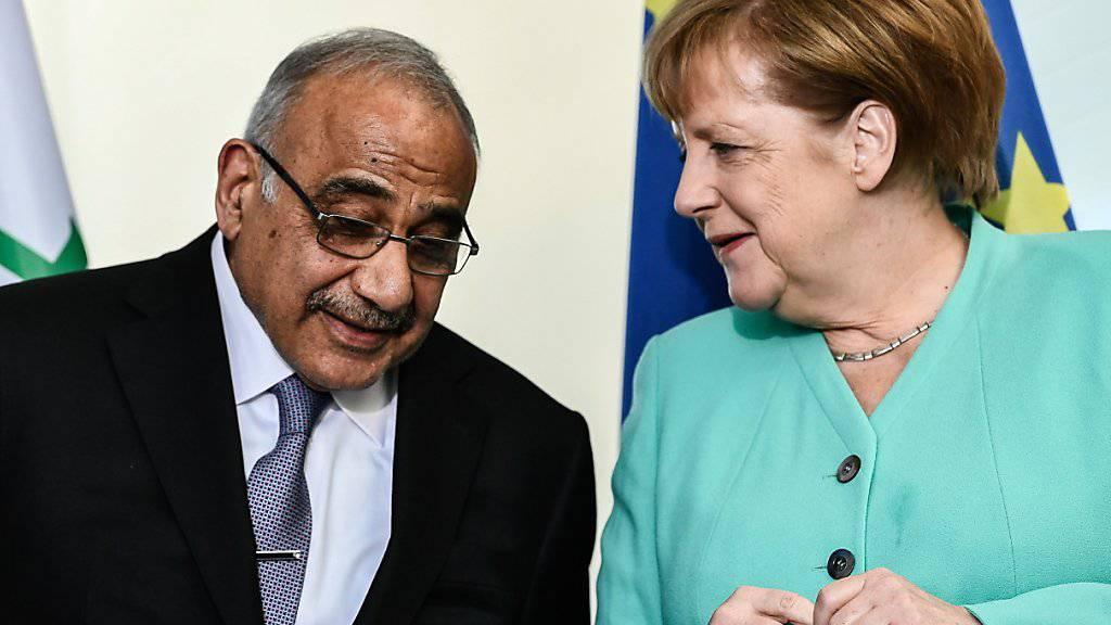 Der irakische Regierungschef Adel Abdel Mahdi bei Kanzlerin Angela Merkel in Berlin.