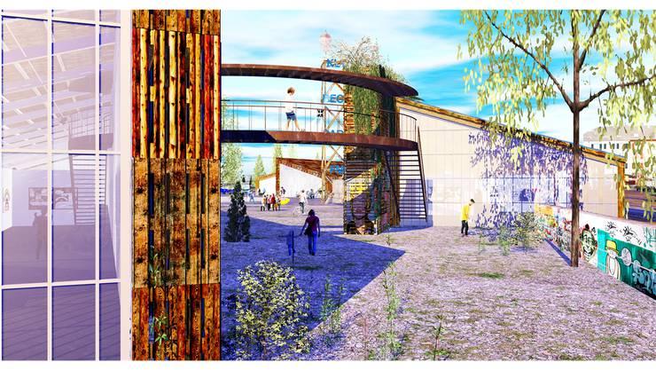 Holzpaletten bilden die Fassade des «Holzpark Klybeck» und Übergänge verbinden die vier Gebäude.