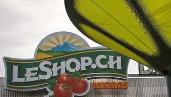 Logo des Online Supermarktes LeShop an der Abholstelle LeShop DRIVE in Studen BE.