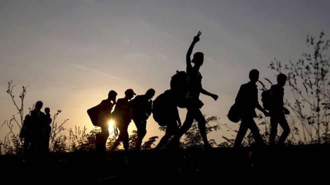 Flüchtlinge versuchen, auf Eisenbahngleisen die Grenze zu Ungarn zu erreichen. Foto: Reuters