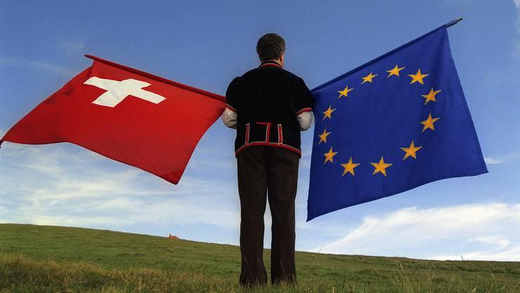Das Rahmenabkommen bekommt Auftrieb. Im Bild: Fahnenschwinger auf dem Männlichen bei Grindelwald.