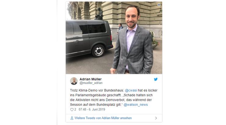 FDP-Nationalrat kritisiert Demonstranten: «Schade halten sich die Aktivisten nicht ans Demoverbot, das während der Session auf dem Bundesplatz gilt.»