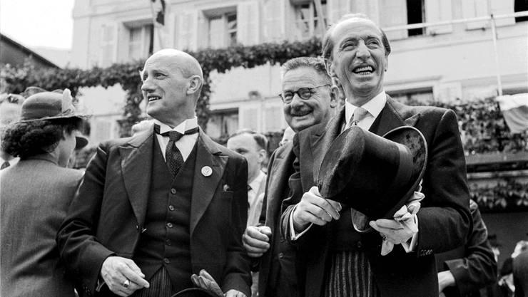 1947 nicht in Rom, aber zehn Tage später bei den Feierlichkeiten zur Heiligsprechung in Obwalden zugegen: Bundesrat Philipp Etter (links) mit Bundesrat Enrico Celio.