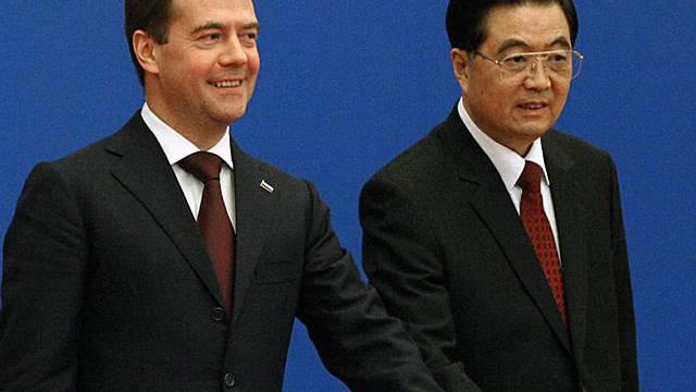 Hu Jintao empfängt Medwedew