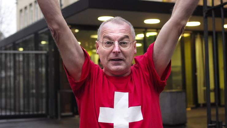 Eric Weber vor dem Gang zur Urteilsverkündung am Basler Strafgericht