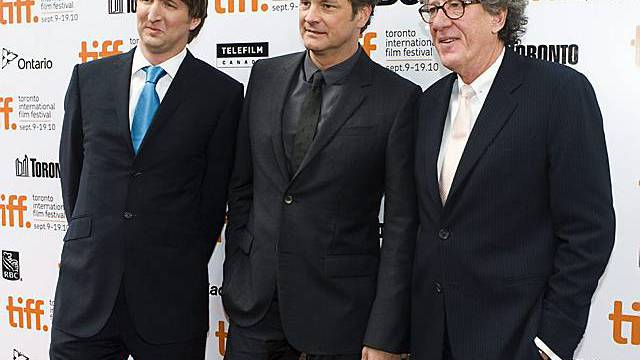 Regisseur Tom Hooper, links, Colin Firth, Mitte, und Geoffrey Rush