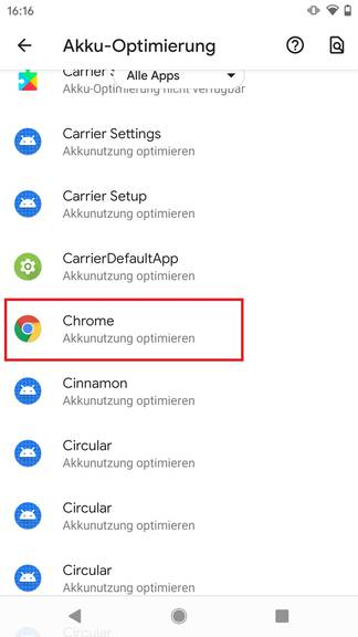 Tippe hier auf «Chrome»