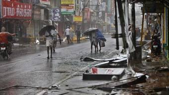 Verwüstung im indischen Ort Pondicherry