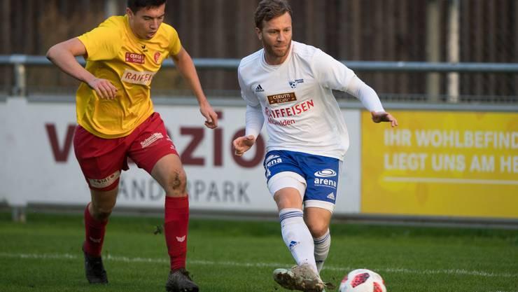 Christophe Lambert (rechts) im Spiel gegen den SC Goldau. Bild: Boris Bürgisser (Buochs, 19. Oktober 2019)
