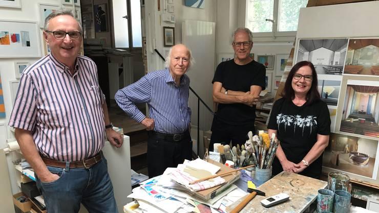 Sie bereiten eine Candio-Monografie vor: (v.l.) Initiant Bruno Frangi, Roman Candio, Heinrich Breiter und Roswitha Schild.