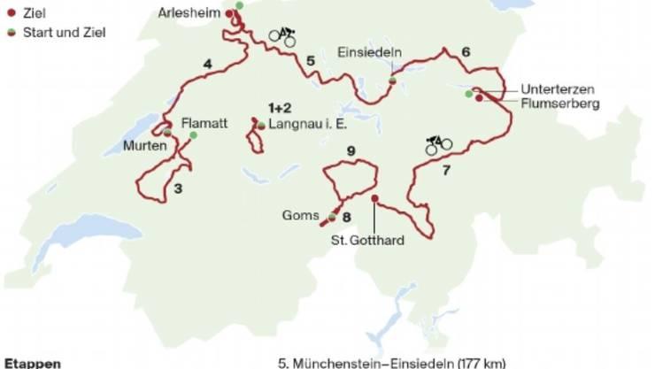 Die Gesamtstrecke der 83. Tour de Suisse mit 1172 Kilometern und 18 994 Höhenmetern.