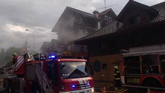 Brand in der Alten Trotte in Sins