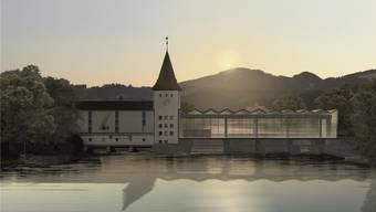 Das künftige Wasserkraftwerk Aarau gesehen von der Kettenbrücke. Punkto Wasserzinsen stellt sich der Aargauer Energiedirektor gegen das Giesskannenprinzip.