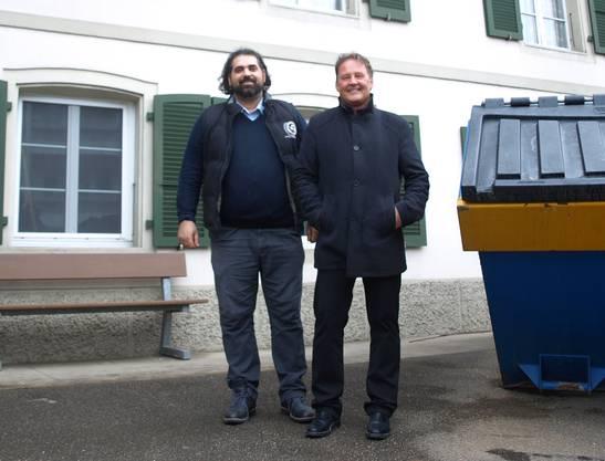 Armando Giannotti (links) und Thomas Blum vor der «Linde». Noch ist die Traditionsbeiz eine Baustelle.
