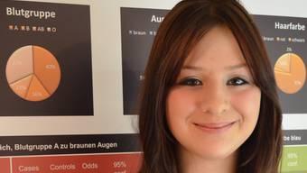 Zoe Eichhorn vor ihrem Plakat für die Präsentation ihrer Arbeit am Final der Schweizer Jugend forscht. ES
