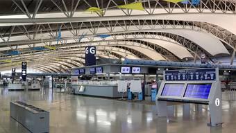 Menschenleer: Der internationale Flughafen Kansai bei Osaka wurde wegen des Taifuns geschlossen.