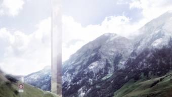 So soll der 381 Meter hohe Turm in Vals aussehen.