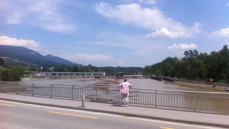 Brücke zwischen Riedholz und Luterbach - das Schwemmholz macht den Pfeilern nichts.