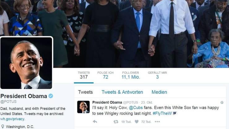 Ihm folgen über 11 Millionen Twitter-User: US-Präsident Barack Obama gibt sein Konto nach der Wahl weiter. (Bild Twitter)