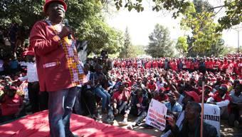 Oppositionsführer Morgan Tsvangirai spricht vor tausenden Anhängern, die einen Rückzug des simbabwischen Präsidenten Robert Mugabe fordern.