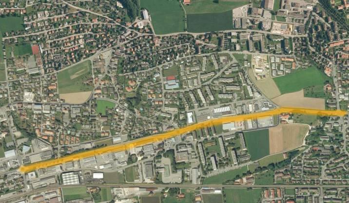 Der Rad- und Gehweg vom Knoten Wildbach bis zum Turbensaalkreisel in Bellach soll für 2.8 Mio. Franken neu konzipiert werden.